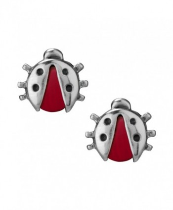 Sterling Silver Coral Ladybug Earrings - CV11CYNLTAH