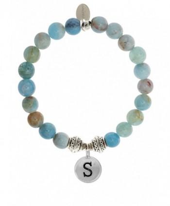 EvaDane Natural Aquamarine Beryl Gemstone Tibetan Bead Alphabet Letter S Charm Stretch Bracelet - C612O2A1LJ9