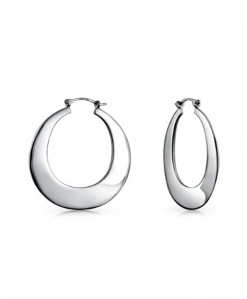 Bling Jewelry Flat Round Snap Back Sterling Silver Hoop Earrings - CI11B4F2Q6X