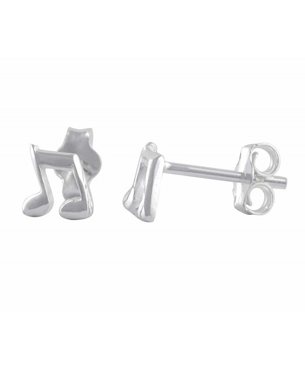 Sterling Silver Music Note Stud Earrings - 6mm - CJ184S2MK75
