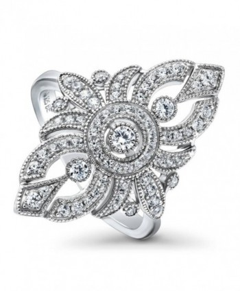 BERRICLE Rhodium Plated Sterling Silver Cubic Zirconia CZ Art Deco Fashion Cocktail Statement Ring - CB1872275SC