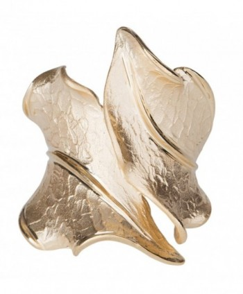 SilverLuxe 14KT Gold Over Sterling Silver Wide Bypass Leaf Ring - CI188CT9HD7