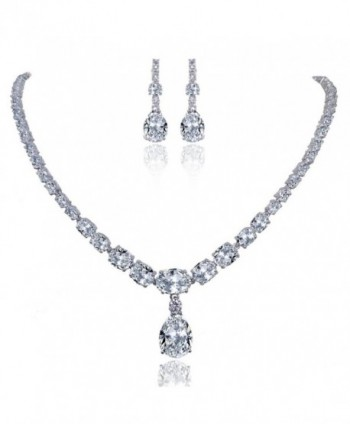 EVER FAITH Mother's Gift Wedding Art Deco Prong Clear CZ Necklace Earrings Set Silver-Tone - CE11JTR93W3