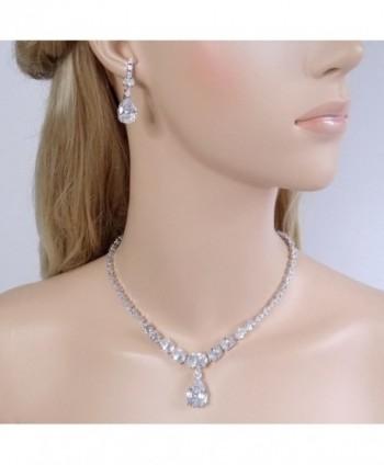 EVER FAITH Necklace Earrings Silver Tone