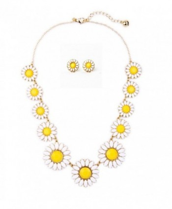 Peony.T Women's Daisy Flower Gold Chain Collar Necklace Earring Stud Set - C517YLCK63S