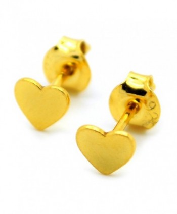 24k Gold Plated Sterling Silver Heart Stud Earrings with Backstopers - CO12D9TYCSL