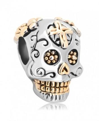LovelyJewelry Sterling Silver Skull Cross Dia De Los Muertos Charm Beads For Bracelet - CE12DH7NR3V