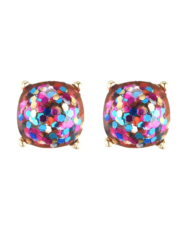 Square Glitter Faceted Stud Earring and Choker Necklace 10mm Gold Plated Resin Earrings for Women - colorful - CL189U956WG