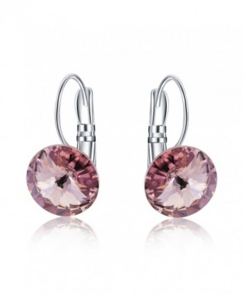 Womens 10mm Round Crystal Leverback Earrings Made with Swarovski Crystals Jewelry - Pink - CV1842HZR39