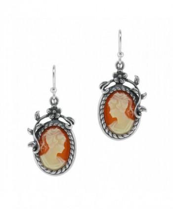 Sterling Silver Flower Vine Resin Cameo Earrings - Salmon - CI1147W13VJ