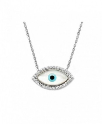 "Clear CZ Sterling Silver Evil Eye Charm Pendant Necklace 16+1"" Extender - CF117JUXKHV"