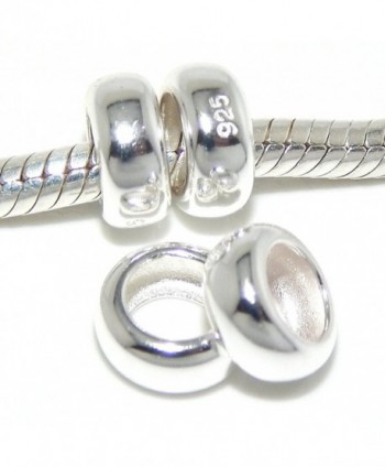 925 Solid Sterling Silver Four-piece Plain Rubber Spacers Charm Bead - CN12DG3UAP3