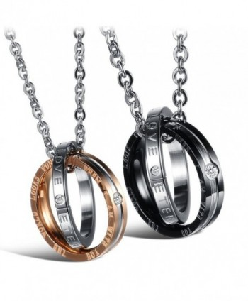 His Her Titanium Steel Couple Pendant Necklace Matching Set Engraved Love Style Anniversary Gift - CY12BUIIDSN