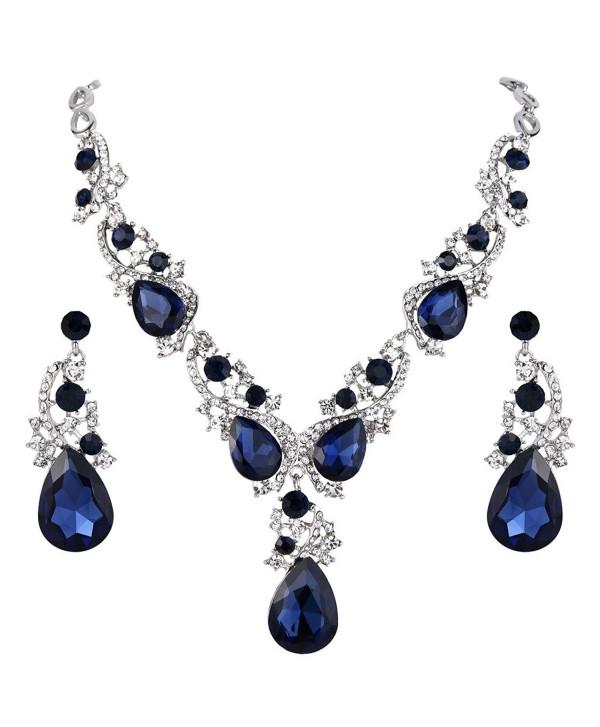 BriLove Teardrop Statement Necklace Silver Tone - Sapphire Color - CS185Q25646