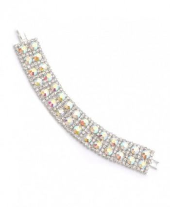 Topwholesalejewel Wedding Bracelet Silver Plating Aurora Borealis 2-Row Link Bracelet - C917Z6GTOX5