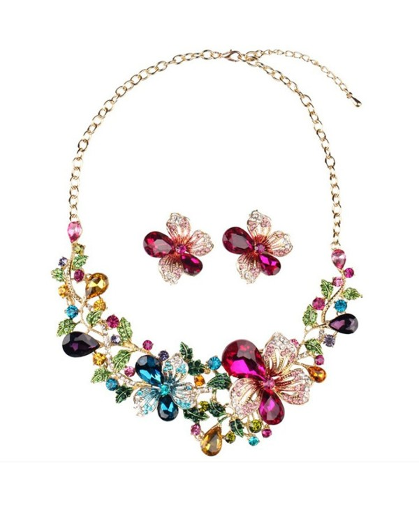 Yuhuan Women Costume jewelry Crystal Statement Necklace and Earrings Sets Chunky Jewelry Set - CY186LYRIQD