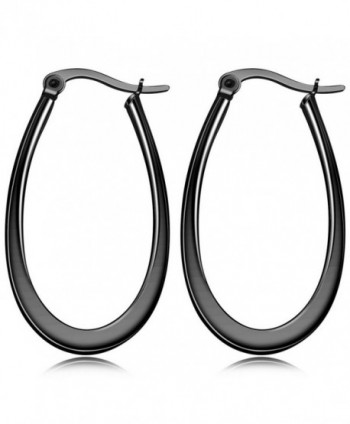 MOWOM Stainless Steel Hoop huggie Teardrop Earrings Set - black - C1182ON7QH6