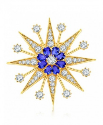 Party Queen Women Corsage Scarf Pins and Brooches Paved Cubic Zirconia Fashion Brooch - GROYALBLUE - CK186X99RA9