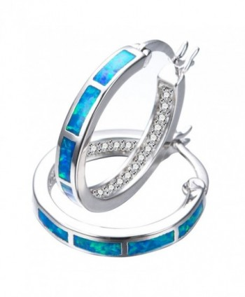 925 Sterling Silver Women's Hoop Earring-White and Blue Earring For You choose Perfect Match - CM187NT4MYE
