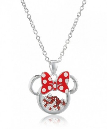 Disney Silver Plated Minnie Mouse Silhouette Shaker Pendant Necklace - C01270VY509