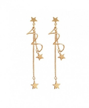 18K Gold Plated Curved Twist shape Five pointed-star Charm Women Long Tassel Dangle Drop Earrings - C0185YN9DS5