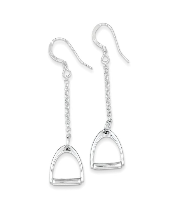 Sterling Silver Polished Horse Stirrup Dangle Earrings - (2.2 in x 0.51 in) - CM12GPPO1Q9