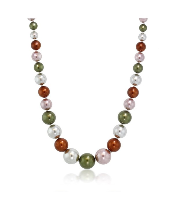 Stunning Multi Color 8MM to 16MM Round Shell Pearl Necklace- 18 Inch - C0116DJXBKP