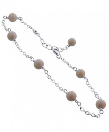 Gem Avenue Sterling Silver Simulated White Agate Adjustable Ankle Bracelet - CC120F2319L