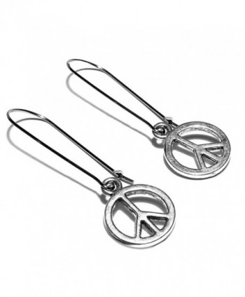 Sabai Silvertone Small Peace Sign Charm Dangle Earrings on Stainless Steel Ear Wires - C512NQASKU0
