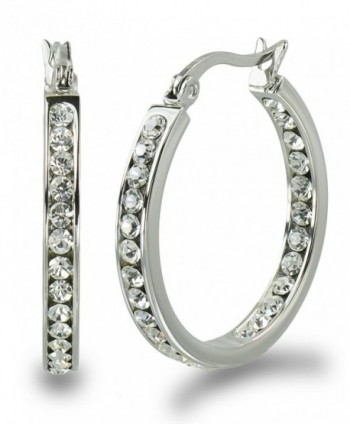 "S.Michael Designs Stainless Steel 1"" Inch Inside Outside Crystal Hoop Earring - C811RAD3VFH"