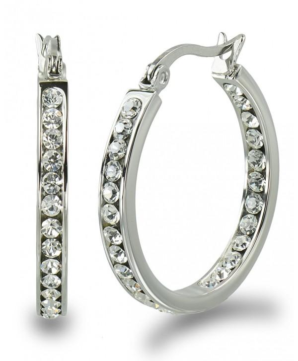 "S.Michael Designs Stainless Steel 1"" Inch Inside Outside Crystal Hoop Earring - C811RAD3VFH"
