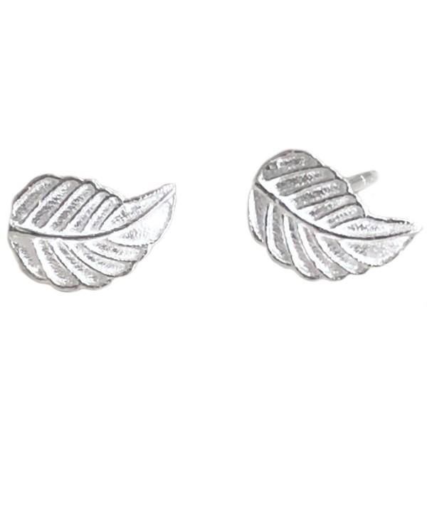 Helen de Lete Little Mint Leaf Sterling Silver Stud Earrings - CX12NDXA5BV