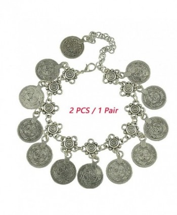 SUNSCSC 1 Pair Silver Plated Coin Drop Belly Bracelet Dance Ethnic Bohemian Jewelry Anklet Chain Bangle - CO122FREC5V