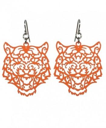 Laser Cut Tiger Face Open Thin Filigree Swirl Dangle Drop Earrings - CS12KAY03KD