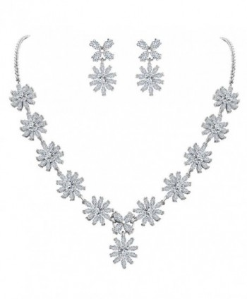 EleQueen Women's Silver-tone Cubic Zirconia Teardrop Snowflake Flower Bridal Necklace Earrings Set - Clear - CB182KUAEN3