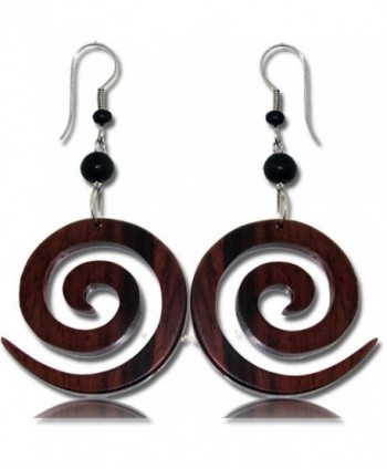 Earth Accessories Stainless Steel Organic Wood Dangle Earrings (Assorted Designs) - Spiral Shaped - CX12O3JTR3C
