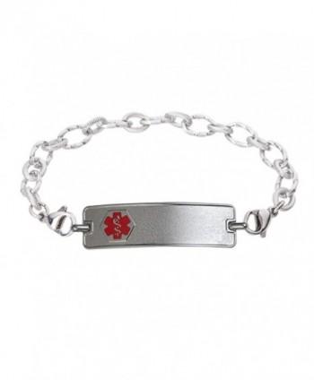 Divoti Custom Engraved Classic Medical Alert Bracelet -Ridged Stainless -Red - C91820YD8SK