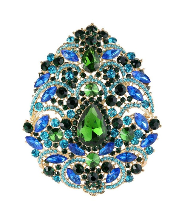 EVER FAITH Women's Austrian Crystal Noble Flower Pattern Teardrop Brooch - Green w/ Blue Gold-Tone - CP11BGDLHZJ