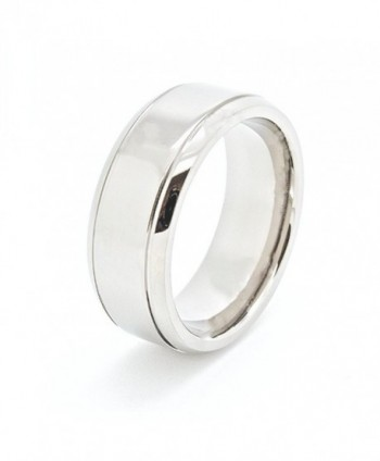 Unique 8mm Flat Polished Grooves Titanium Wedding Band (Available in Sizes 5-14.5) - C41102H4TEB
