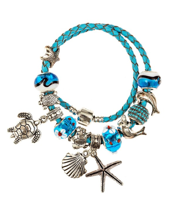 European Ocean Beach Charm Beaded Bracelet 7.5 and 8.5 Inch for Women and Teen Girls Leather Wrap - CQ12DR042TV