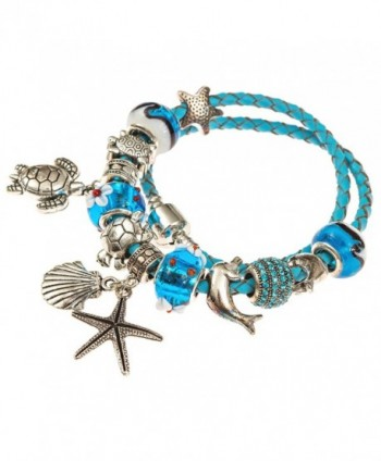 European Leather Bracelet Starfish Seashell