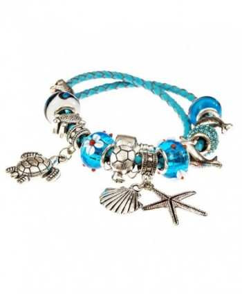 European Leather Bracelet Starfish Seashell in Women's Charms & Charm Bracelets