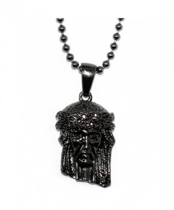 Mega Jewellery Black Micro Jesus Piece with ball chain necklace - 30 inch - with CZ Eyes and Crown - CI11HBIXC3D