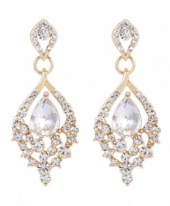 EleQueen Women's Gold-tone Austrian Crystal Teardrop Dangle Chandelier Sparking Earrings - Clear - CM12BTVMDFP