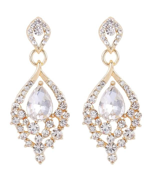 Elequeen Women S Gold Tone Austrian Crystal Teardrop Dangle Chandelier Sparking Earrings Clear Cm12btvmdfp