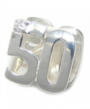 """Solid 925 Sterling Silver """"Two Sided Number 50 with Clear Crystal """" Charm Bead - C912NZF5W2M"""