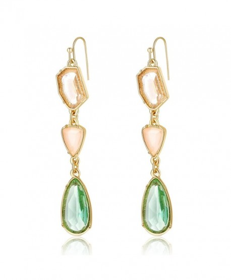 Ellena Rose Green and Coral Color Stone Drop Earrings For Women - Green and Coral - CJ188TA08TO