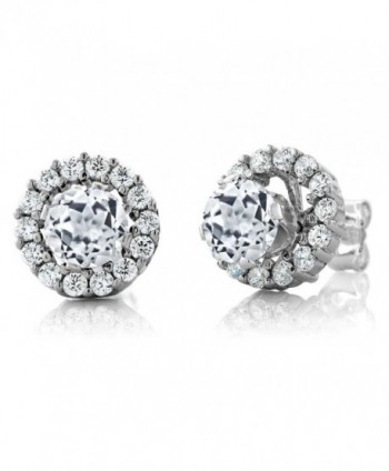 1.59 Ct Round White Topaz 925 Sterling Silver Stud Earrings with Jackets - CA11MDF2UZF