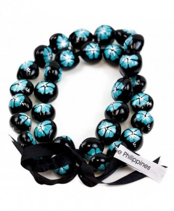 Barbra Collection Hawaiian Style Kukui Nut Lei Hibiscus Hand Painted Turquoise Flower 32 Inches - CB127QGQE6V