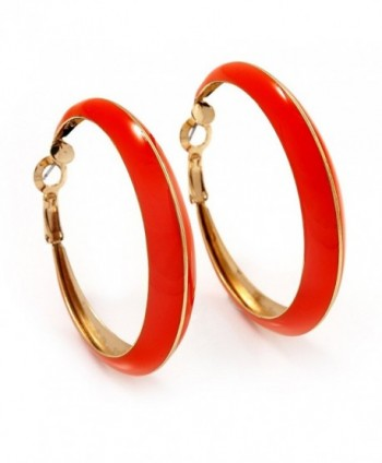 Bright Orange Hoop Earrings (Gold Tone Metal) - 5cm Diameter - C4116Q18LN7